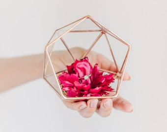 Wedding Ring Holder Ring Box Geometric Ring Bearer Box Ring Pillow Wedding Ring Box Glass Jewelry Box (JB10)