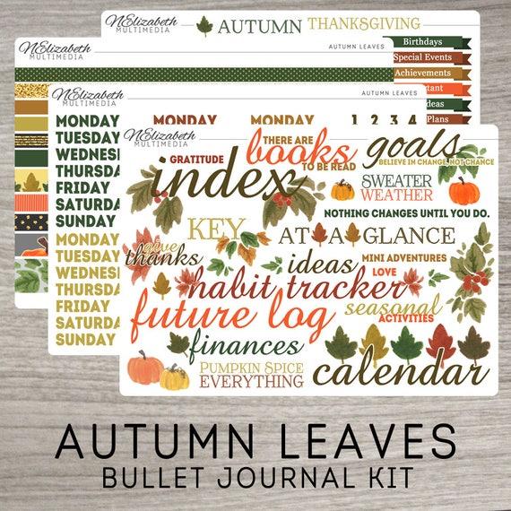 autumn leaves bullet journal kit bujo stickers planner. Black Bedroom Furniture Sets. Home Design Ideas