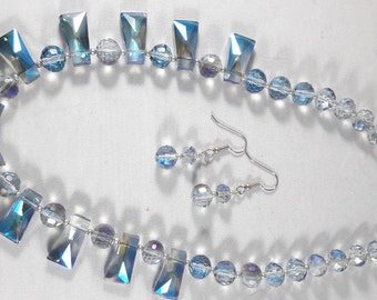Crystal and faceted glass necklace and earrings
