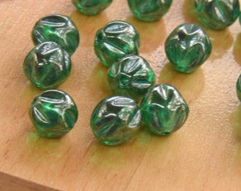 12 Emerald Green Shiny Vintage German Luster Glass Beads.   8mm Vintage Green Glass Nugget Beads with .5mm Hole Size.  New old Stock.