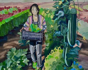 Painting Women Who Farm: Small Farms, Sustainable and Organic Agriculture, Community, Vegetables, Gardening, Art