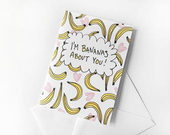Witty Valentine, Galentines Day Card, Banana Card Funny Valentine Card for Friend, Best Friend Card, Valentines Day Card for Crush, Pun Card