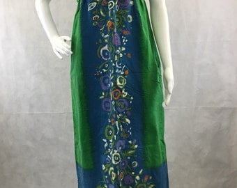 Empire Waist Sheath Dress 1960's Tiki Party Baba Kea Inc. Honolulu Hawaiian Cotton Cloth Luau Clambake Vintage Size Extra Small - Small 2-4