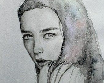 Original Watercolor painting-Galaxy Space Girl portrait