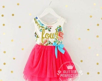 Fourth birthday outfit, 4th birthday dress, Fourth Birthday Party 4th Birthday outfit,hot Pink tutu dress with gold letters