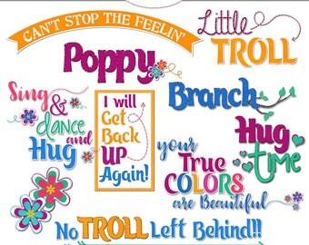 Trolls Word Art, Flower Clip Art, Scrapbook Word Art, Scrapbook Flowers