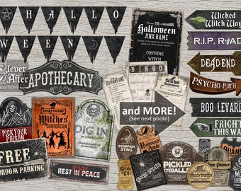 Halloween Party Printable Package Witch's Ball Brew Party Supplies Kit vintage signs, banner, games food water bottle labels accessories