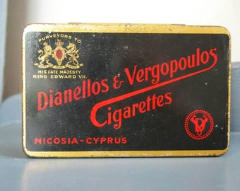 Decorative Vintage Tin, Old Cyprus Cigarette Tin, Collectibles, Display Tin, Black and Red Tobacco Tin Box, Advertising, Dianellos