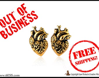 SALE Anatomical Gold Plated Heart Earrings,Human Heart Earrings,Heart Stud Earrings,Love Gift,Anatomy Jewelry,FREE SHIPPING