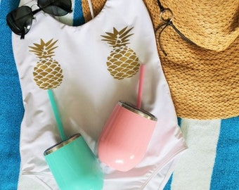 White One Piece Swimsuit- One Piece Swimsuit- Pineapple Swimsuit- Pineapple Swimwear- Custom One Piece Swimsuit- Pineapple- Gold Pineapple