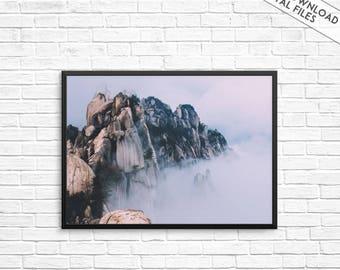 Fog mountains photography, Mountains Print, Fog print, Foggy, Nature art print, Mountain wall print, Landscape wall art, Scandinavian poster