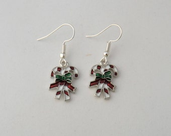 Candy Canes holiday earrings gift, Christmas earrings, enamel candy stripe charm, festive winter novelty earrings, sterling silver earrings