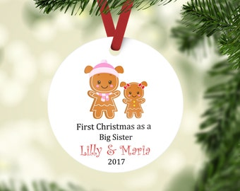 First Christmas as a Big Sister Ornament, Big Sister Ornament, Sister Ornament, First Christmas Ornament, Gingerbread Ornament