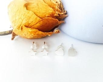 Sterling Silver Earrings | Heart Earrings | Star Earrings | Tiny Silver Studs | Dainty Silver Earrings Set | Birthday Gift | Bridesmaid Gift
