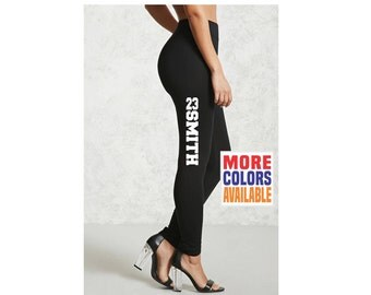 NAME NUMBER LEGGINGS Black Pants Workout Yoga Gym Side Leg Your Text Here Personalized Customized Custom Printed Sports Team Soccer Player