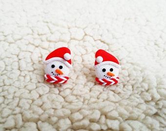 Christmas jewelry Cute snowman jewelry Christmas studs Kids jewelry Winter earrings Snowman gift Cute earrings Christmas gifts Holiday gifts