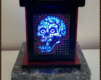 Skull lamp with tray and remote control LED bulb