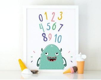 Numbers Monster, Little Monster Wall Art Set, Monsters Print, Numbers set, Instant Download, Nursery Wall Art, Monster Wall Art, Colorful