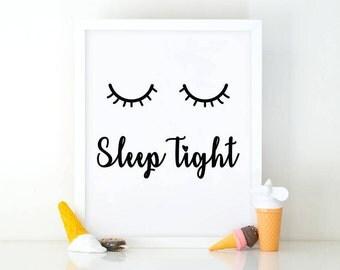 Sleep Tight, Girl Nursery Art, Instant Download, Room Decor, Nursery print, Girls room decor,  Printable art, wall art, bedroom wall art