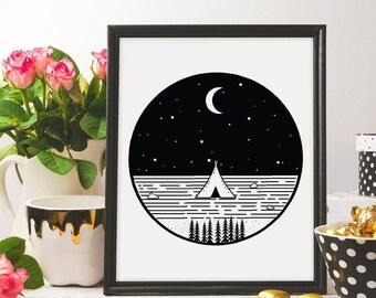 Camp vibes, Nature print, Camping print, Wild Life, Nature wall art printable, Geometric print, Minimalist print, Geometric print, ink art