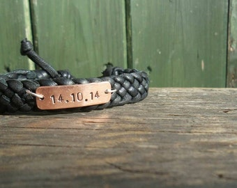 Bracelet Wedding Anniversary Black Leather 7th Seventh Copper Hand Stamped Customized Present Boyfriend Girlfriend Gifts Braided FREE POST