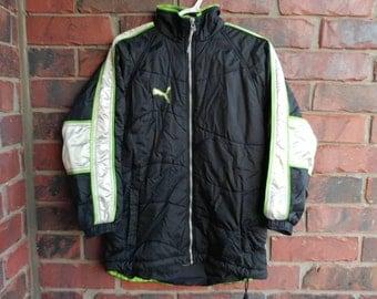 Vintage Puma Coat 1990s Puma Jacket Silver/Black/Green
