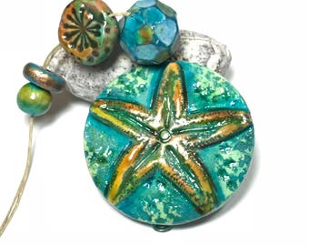 Starfish Artisan Polymer Clay Bead With Art Beads, Handcrafted Polymer Beads, Ocean Beads, Handmade Unique Beads, Turquoise Yellow, Organic