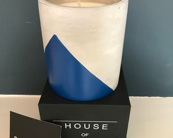 Large Concrete Candle - Pomegranate Scented Soy Wax with Navy blue colour