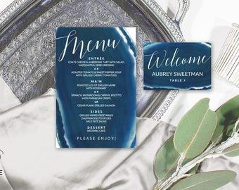 Agate menu, Geode slice place card, Agate place cards, Agate geode wedding decor, Navy wedding reception, Agate wedding, Editable pdf