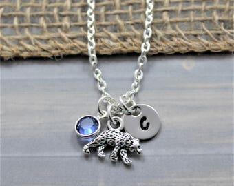 California Bear Necklace - Bear Birthstone Necklace - Personalized Bear Gifts - Cali Bear Necklace - Bear Gifts - Bear Jewelry