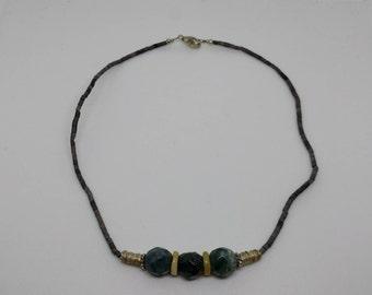 Vintage Green Aventurine Quartz Gemstone Necklace, Green Quartz Necklace, Green Stone Necklace, Boho Necklace, Heart Healing Necklace, Beads