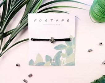 Hamsa Bracelet Silver Hamsa Hand Charm Bead Adjustable Premium 2mm Black Cord With Inspirational Quote Handmade Gift