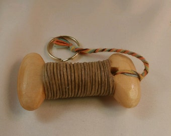 Wooden B-line Keychain - Bline Keyring - Hand Carved Keychain - Bee Line - Hemp Wick - Hemp string - B-Line - Beeswax - B line - BeeLine