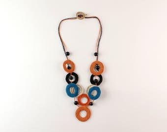 Plant fiber necklace orange brown blue, rustic necklace, boho necklace, tribal, fiber art jewelry, fair trade jewelry