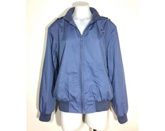 L | vintage 80's The In Crowd members only style slate blue zip front windbreaker jacket