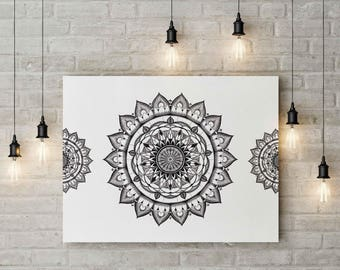 Lotus Blossom Mandala Wall Art Yoga Print Zen Wall Art Digital Prints Wall Hang Home Decor