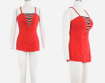 Vintage 1950's Catalina Swim Suit - Red, Tan & Blue - One Piece Bathing Suit - Play Suit - Small - 12 / 34 - XS