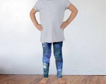 Kids Galaxy Tights, Children's Galaxy Leggings, Graphic Tights, Graphic Leggings,Children's Leggings,Kids Leggings, Kids Tights,Space Tights