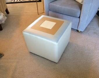 Custom made designer 3 tone recycled leather vinyl ottoman.