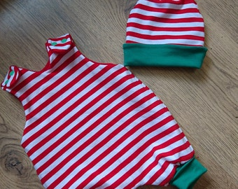 elf romper, harem romper, red and white stripe, christmas outfit, chrismas baby, christmas eve box, reversible outfit