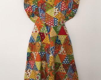 Pinafore dress / vintage dress / 80s dress / handmade dress / flower dress / summer dress / cotton dress / long dress / pinafore dress women