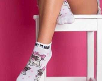 Pug socks/ Dogs/ White socks/ Gift for her