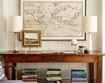 Map Wall Art, Vintage World Map Print, World Map Wall Art, World Map