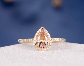 Pear Cut Morganite Engagement Ring Gold Wedding Ring Diamond Halo Half Eternity Pear Shaped Bridal Ring Anniversary Gift Women Antique