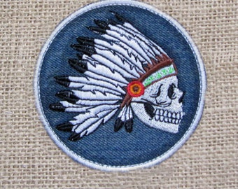 SKULL Indian in Head Dress Sew On Iron On Patch Motorcycle Cycles Chopper Biker PATCH