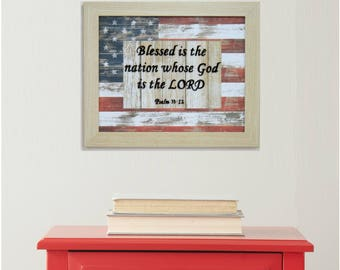 American Flag, Bible Verse Wall Art, Military Gift, USA Flag, Christian Gifts for Men, Veteran Gift, Bible Verse, Military Retirement, Psalm