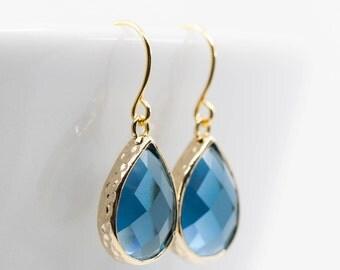 Gold Blue Navy Earrings