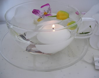 Floating Candle Set - Glass Cup and Saucer - Table Centrepiece - Wedding/Gift