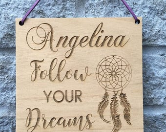 """Personalised """"Follow Your Dreams"""" Dream Catcher Hanging Plaque GIFT - Adventure"""