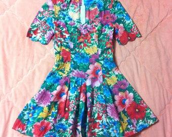 Vintage Colorful Rainbow Floral Dress, Vintage Floral Dress, Rainbow Floral Dress, Vintage Colorful Dress, Floral Print Dress